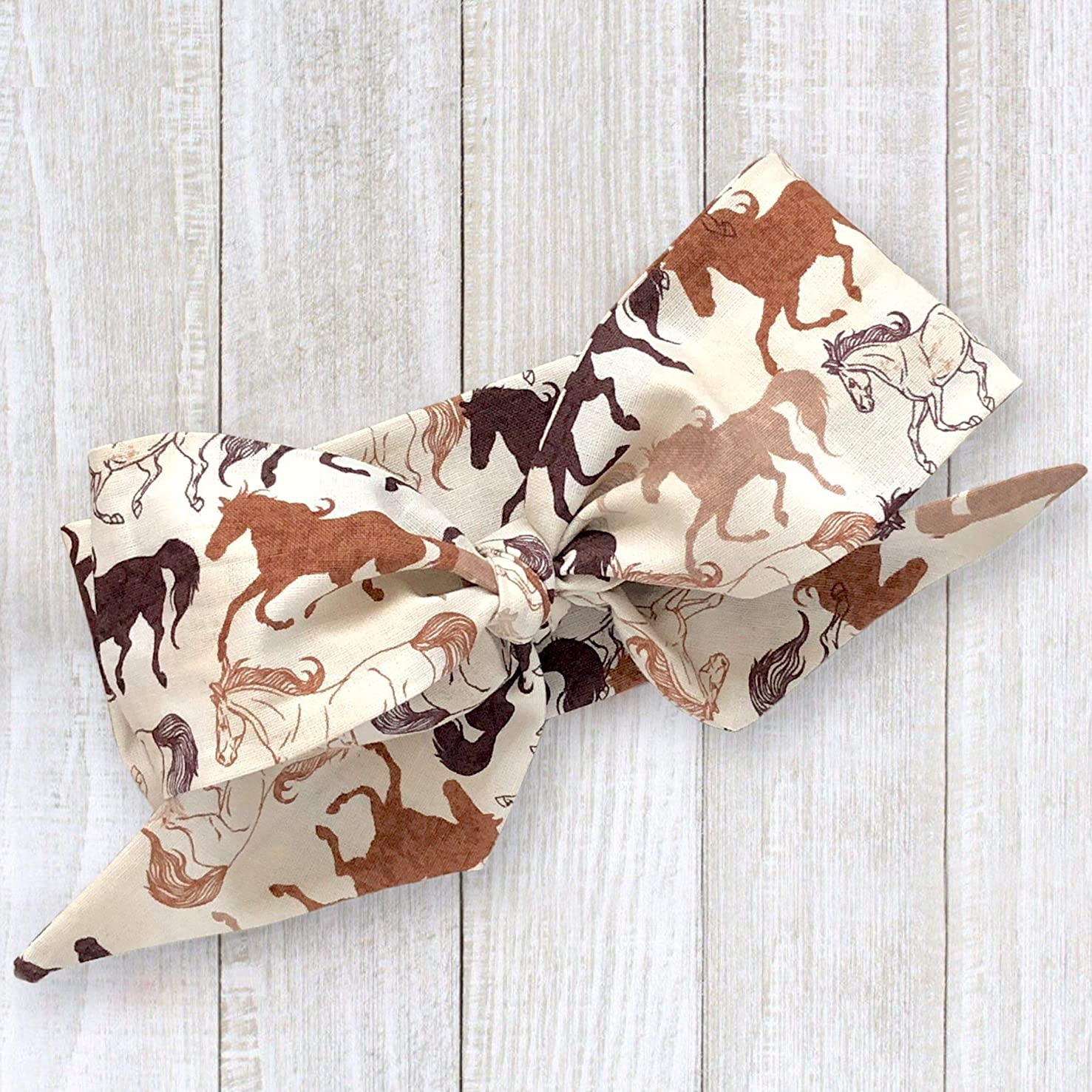 Equestrian Horse Fabric Top Knot Big Bow Headband Head Wrap, One Size Fits All