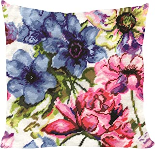 Tobin 2619 Stitched in Acrylic Yarn Watercolor Floral Needlepoint Kit, 12