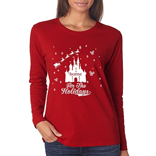 372a2253 DisGear Parks Home for The Holidays Long Sleeve Castle T-Shirt for Women