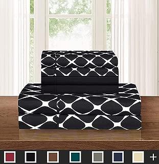 Elegant Comfort Luxury Softest 6-Piece Sheet, Wrinkle Resistant Milano Trellis Pattern 1500 Thread Count Egyptian Quality Coziest Bedding Set, California King, Black