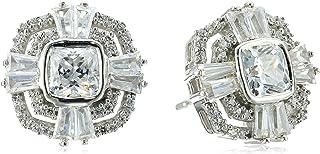 Sterling Silver Swarovski Zirconia Cushion Shape Fashion Earrings