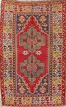 Antique Vegetable Dye Oushak Anatolia Turkish Area Rug Geometric Wool Carpet 5X7 (7' 0'' X 4' 7'')