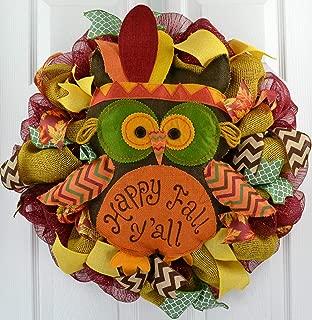Thanksgiving Door Wreath | Happy Fall Y'all Owl Indian Wreath | Burgundy Yellow Green
