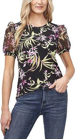 Puff Sleeve Serene Flora Knit Top