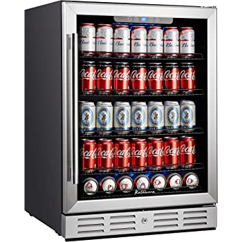 """Kalamera 24 inch Beverage Refrigerator - 154 Cans Capacity Beverage Cooler- Fit Perfectly into 24"""" Space Built in Counter or Freestanding - for Soda, Water, Beer or Wine - For Kitchen or Bar with Blue Interior Light"""