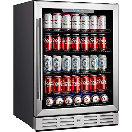 """Kalamera 24 inch 154 Cans Capacity Beverage Cooler- Fit Perfectly into 24"""" Space Built in Counter or Freestanding - for Soda, Water, Beer or Wine - For Kitchen or Bar with Blue Interior Light"""