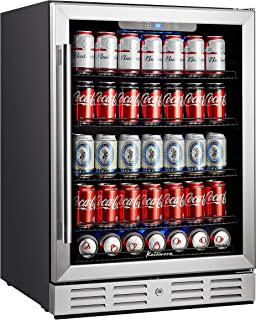 Kalamera Beverage Cooler and Fridge - Fit Perfectly into 24 inch Space Under Counter or Freestanding - 175 Cans Capacity - for Soda, Water, Beer or Wine - For Kitchen or Bar with Blue Interior Light
