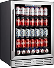 """Kalamera 24 inch Beverage Refrigerator - 175 Cans Capacity Beverage Cooler- Fit Perfectly into 24"""" Space Built in Counter or Freestanding - for Soda, Water, Beer or Wine - For Kitchen or Bar with Blue Interior Light"""