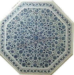 Gifts And Artefacts Table de salle à manger en marbre avec incrustation de pierres précieuses lapis-lazuli 40 cm