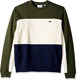 Lacoste Men's Long Sleeve Brushed Pique Fleece Colorblock Sweater