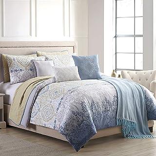 Amrapur Overseas Summer Sun 10-Piece Comforter and Coverlet Set, King/California King, White/Blue