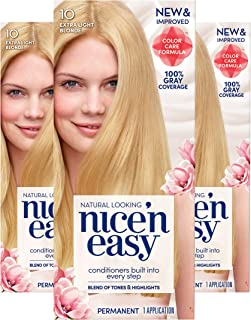 Clairol Nice'n Easy Permanent Hair Color, 10 Extra Light Blonde, 3 Count