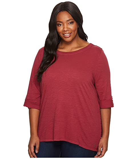 Jag Jeans Plus Size Plus Size Wren Tee With Crochet Lace Back In Slub Jersey