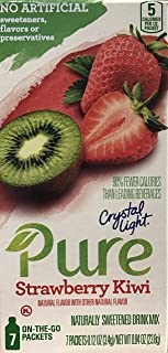 Crystal Light Pure Strawberry Kiwi Drink Mix, 7 On-the-Go Packets (Pack of 4)