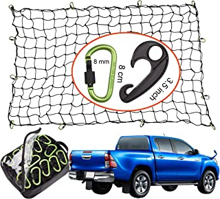 Seah Hardware 4' x 6' Cargo Net for Truck Bed Stretches to 8' x 12' | 24 Pieces Universal Hooks| 5 mm Diameter Small 4