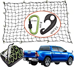 Seah Hardware 4 x 6 FT Super Duty Bungee Cargo Net for Truck Bed Stretches to 8 x 12 FT   24 Pieces Universal Hooks  Small 4 x 4 Inches Mesh  Universal Heavy Duty Car Rear Organizer Net