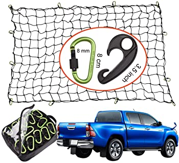 Seah Hardware 4 x 6 FT Super Duty Bungee Cargo Net for Truck Bed Stretches to 8 x 12 FT | 24 Pieces Universal Hooks| ...