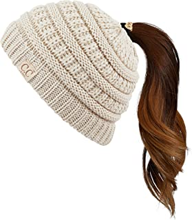 C.C Exclusives Kids Ages 2-7 Warm Chunky Thick Stretchy Knit Beanie Tail Hat for Kids Skull Hat
