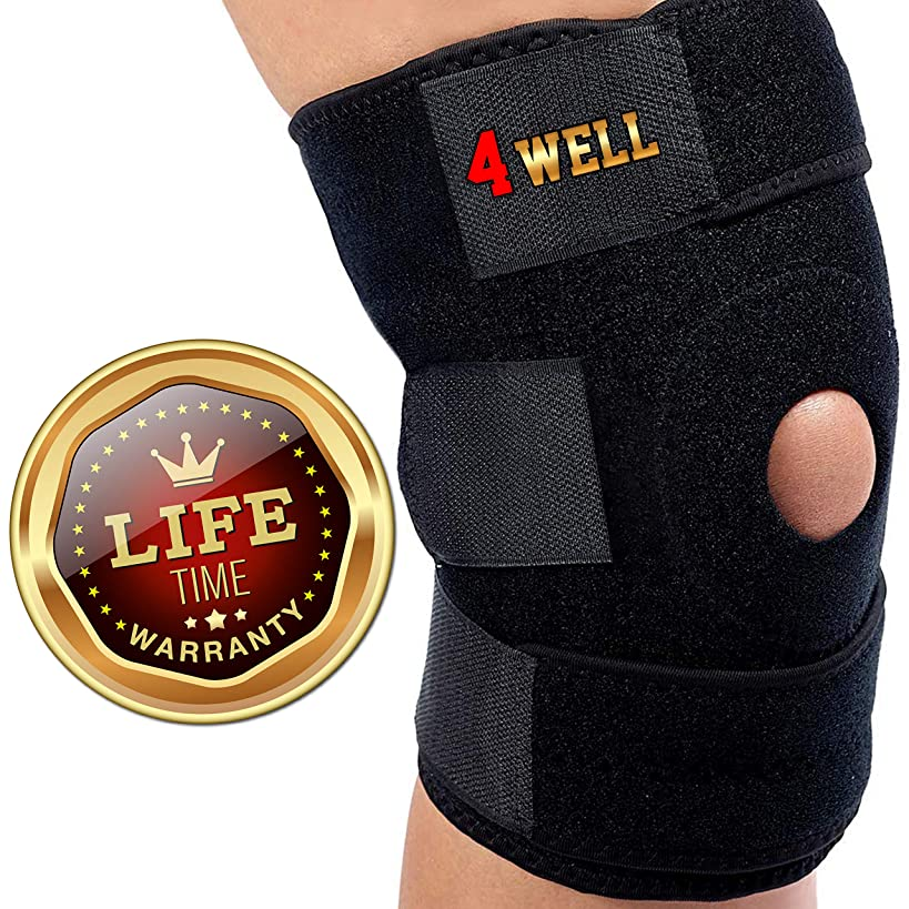 4well Knee Patella Support Brace for Men Women | Best Open Patella Knee Stabilizer for Walking Injury Recovery Running Sport ACL | Non Slip Comfortable Adjustable Knee Brace Neoprene FDA Approved