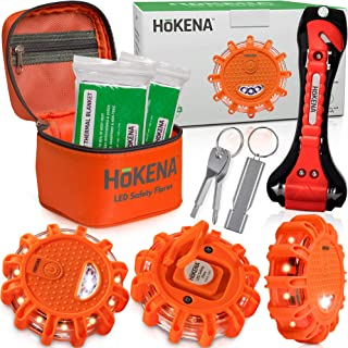 HOKENA LED Road Flares Emergency Lights - Roadside Warning Car Safety Flare Kit for Vehicles & Boat - 3 Beacon Disc Pack w...