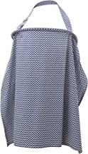 Liberty Lane Breast Feeding Cover Up | Nursing Cover for Breastfeeding Infants with Matching Neck Scarf/Bib for Burping Baby | Free Matching Storage Pouch | 100% Cotton (Blue and White)