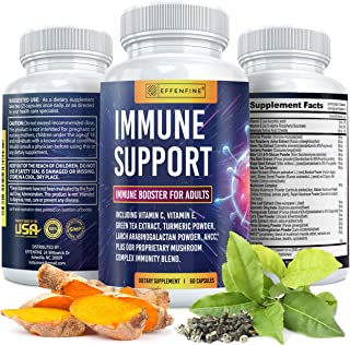 Immune Support (60 Caps), Immune System Booster for Adults with Pine Bark Extract, Vitamin C and E, Turmeric, Green Tea, Mushroom Complex and More - Immune Booster (Made in USA)