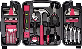 Apollo Tools DT9408P 53 Piece Household Tool Set with Wrenches, Precision Screwdriver Set and Most Reached for Hand Tools in Storage Case Pink Ribbon