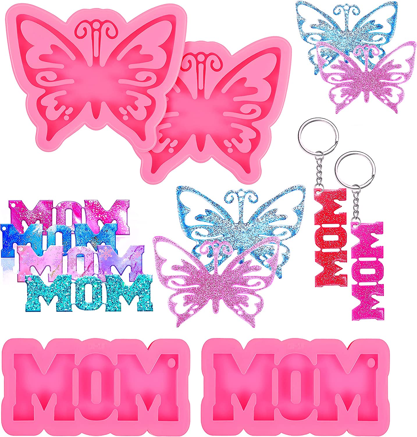 Thick Silicone Keychain Max 90% OFF Resin Molds Butterfly MOM Skeleton Wor Los Angeles Mall