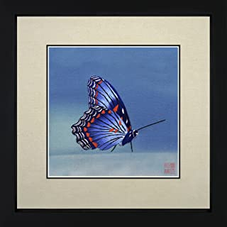 King Silk Art 100% Handmade Embroidery Colorful Butterfly on Flowers Chinese Print Framed Whildlife Butterfly Painting Birthday Party Gift Oriental Asian Wall Art Decoration Artwork Hanging Picture Gallery 33023WFB2