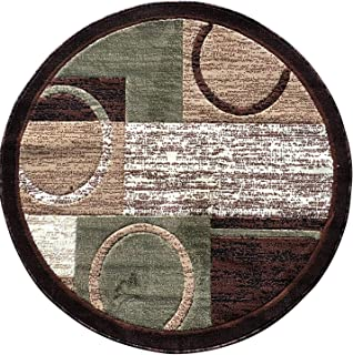 Americana Modern Round Area Rug Brown with Green Design #1497 (5ft3in.X5ft3in. Round)