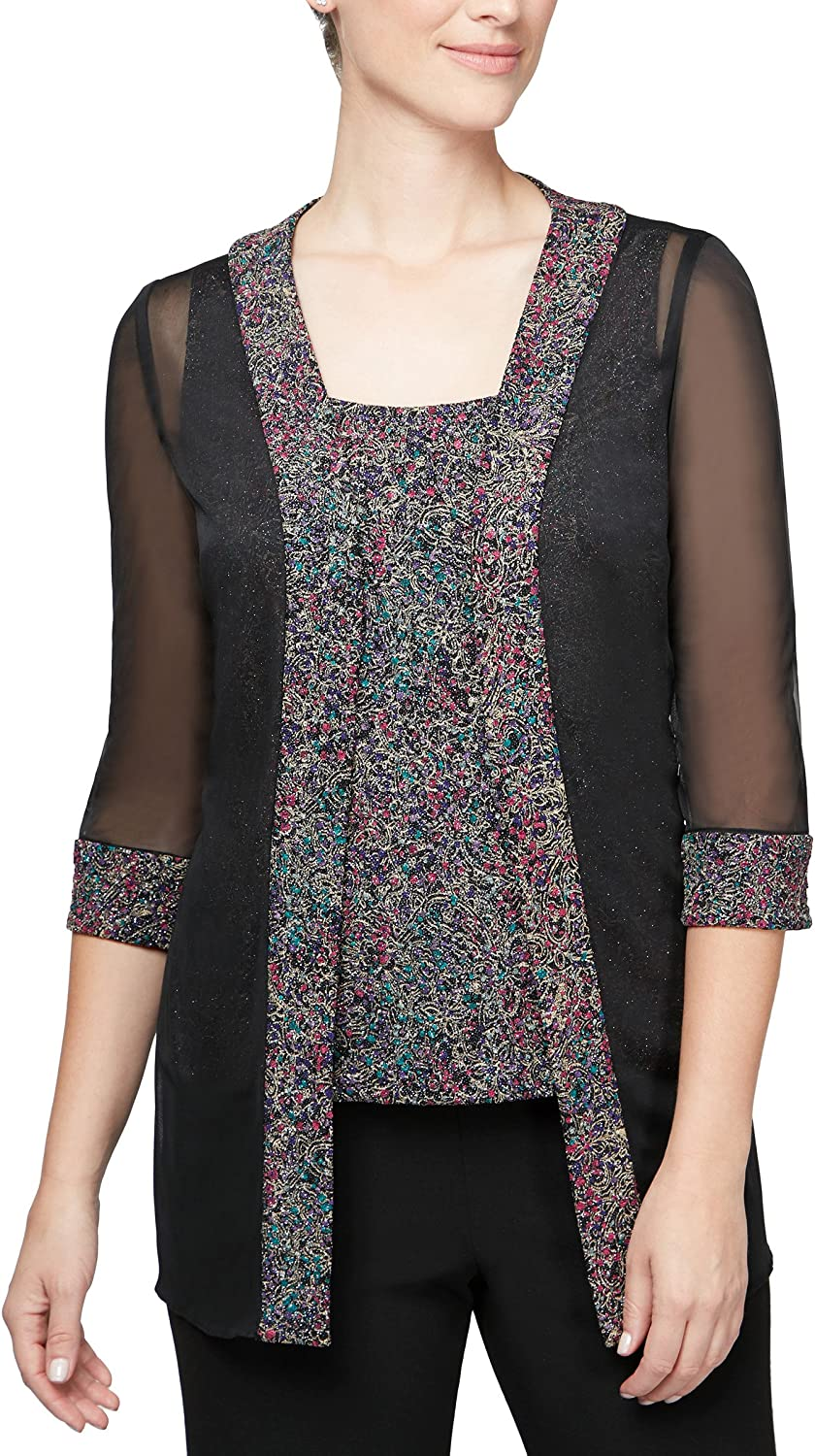 Alex Evenings Womens PlusSize Plus Size Printed Twinset with Tank Top and Jacket