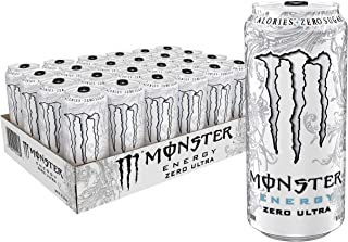 Monster Energy Zero Ultra, Sugar Free Energy Drink, 16 Ounce (Pack of 24)