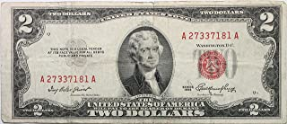 1953 $2 Dollar Bill with Red Seal in Very Good Condition