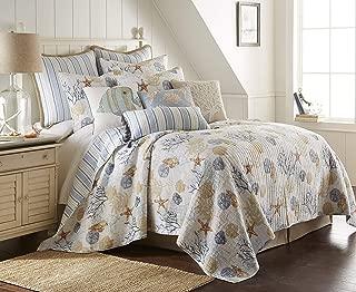 Levtex Home Coral Sealife King Quilt Set, Coastal, Reversible, 100% Cotton, Multi