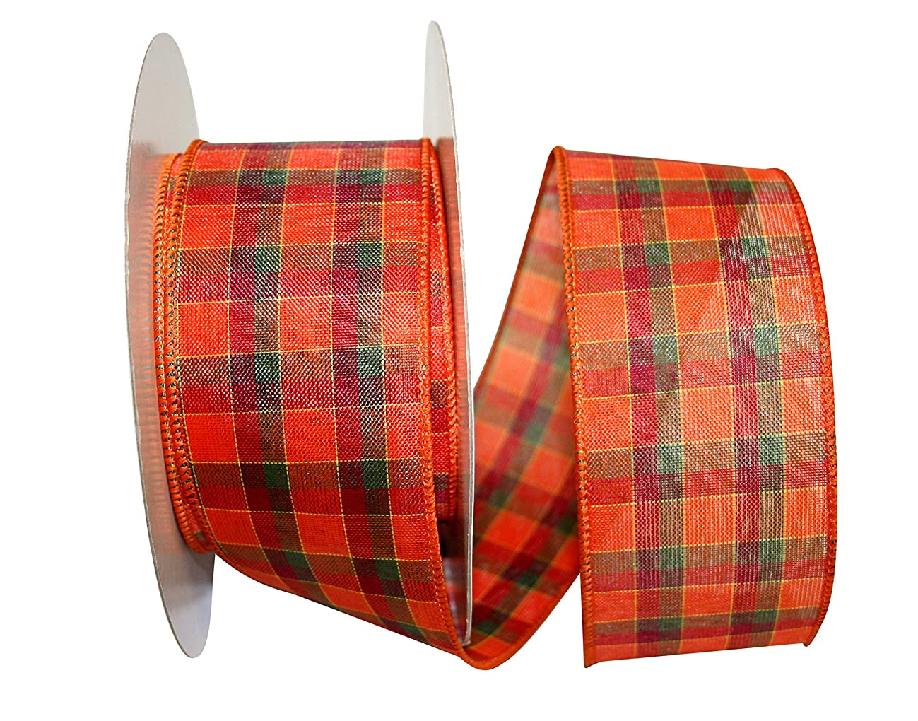 Reliant Ribbon 92298W-001-40K Alford Plaid 3 Value Wired Edge Ribbon, 2-1/2 Inch X 50 Yards, Multi