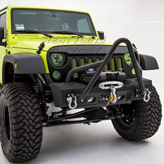 Restyling Factory -Grille Guard Stinger Stubby Rock Crawler Front Bumper With OE Fog Light Hole & Built In Winch Plate & 2x D-Ring -Textured for 07-17 Jeep Wrangler JK