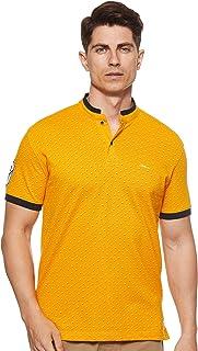 Octave Men's Printed Chinese Collar T-Shirt, Mustard
