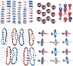 Patriotic 4th of July Mega Party Favor Assortment and Parade Party Set Bulk Pack of 96 Prizes Including Red White Blue Independence Day Tattoos, Stampers, Gliders, Star Necklaces, American Flag Yoyos