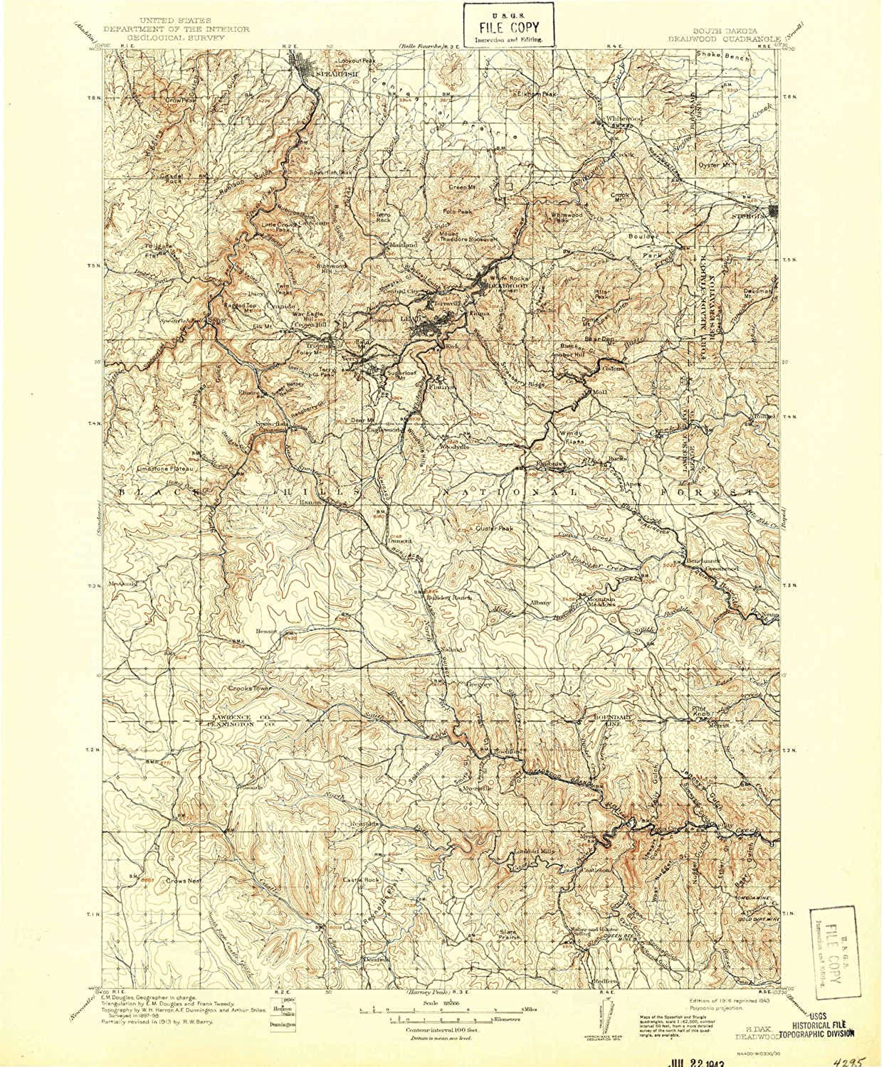 Deadwood SD topo map, 1 125000 Scale, 30 X 30 Minute, Historical, 1916, Updated 1943, 19.9 x 16.5 in