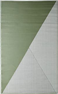 iCustomRug Inverso Outdoor Rug Collection, Reversible Plastic Area Rug 5' x 8' Anti Fade, Fade Resistant for Patio, Balcony or Beach in Green and Grey