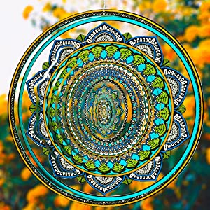 Wind Spinners for Yard and Garden-12 inches Rustproof 3D Metal Mandala Outdoor Kinetic Wind Spinner/Sculptures/Windmills- Hanging Art Décor Ornaments Suitable for Indoor and Outdoor