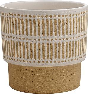 Stone & Beam Emerick Rustic Stoneware Planter Pot -  6 Inch, Brown and White