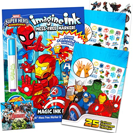 Amazon.com: Marvel Super Hero Adventures Imagine Ink Coloring Book Activity  Set ~ No Mess Magic Ink Activity Book With Avengers Stickers And Temporary  Tattoos (Superhero Coloring Books): Toys & Games