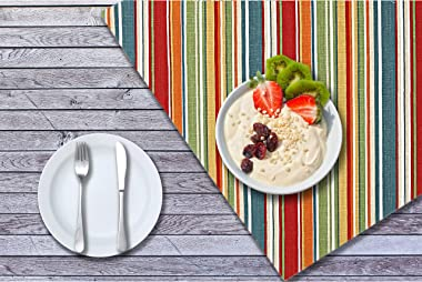 Ruvanti Placemats for Dinning Table. 100% Cotton Woven 13x19 Inch Place mats Set of 6, Red & Fall Multi Stripe Woven Tabl