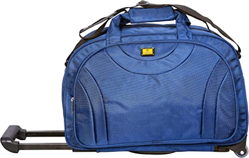 58 Litres Polyester Travel Duffle Soft Sided Duffel With Wheels Blue Black 57 Cm Set 0F 1 Pcs Bags