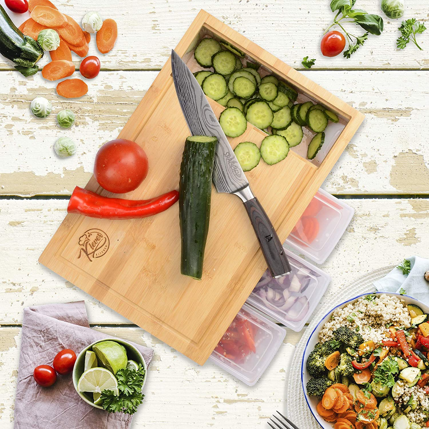 KLEVER KITCHEN Large Bamboo Bombing new work Cutting Chopping Storage with Free shipping New Board