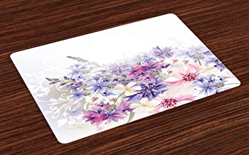 Ambesonne Lavender Place Mats Set of 4, Pastel Cornflowers Bridal Classic Design Gentle Floral Wedding Design Print, Washable Fabric Placemats for Dining Room Kitchen Table Decor, Violet Pink White