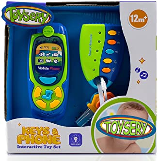 Toysery Cell Phone and Key Toy Set for Kids - Pretend Play Electronic Learning and Education Phone Toys