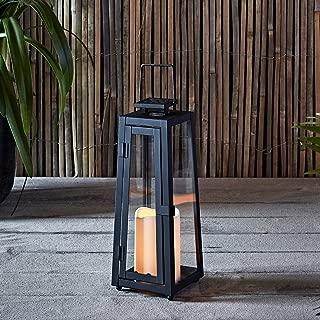Lights4fun, Inc. Black Metal Solar Powered LED Fully Weatherproof Outdoor Garden & Patio Flameless Candle Lantern