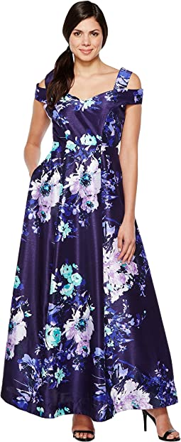 Cold Shoulder Floral Print Evening Gown with Pockets